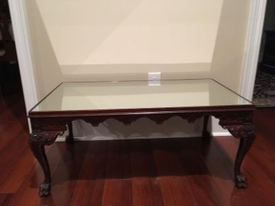 Antique Coffee Table with Mirror Top