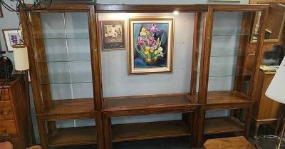 Tiger Oak Lighted Glass Entertainment Center - Delivery Available