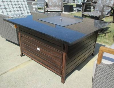 """SALE Merchandise mart Floor Sample - Black """"Stone"""" Topped Outdoor Propane Fire-pit"""