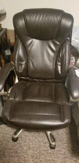 Leather office chair with wheels