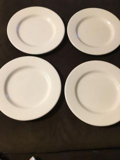 4 Matching Pottery Barn Rustic White Plates made in Italy