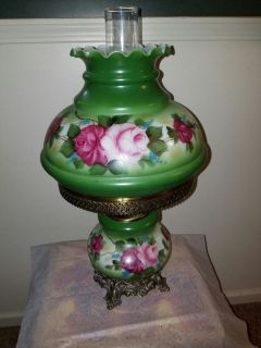 Hurricane table lamp red green roses