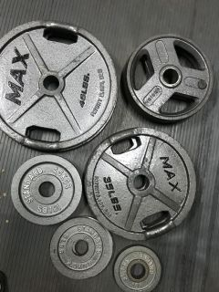 245lb olympic weight set- mixed matched