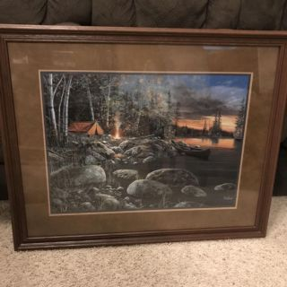 Very Nice Real Wood Framed Campsite Wilderness Art- Home Interiors 30 1/2 x 24 1/2
