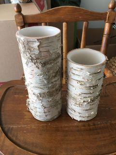 Battery operated wood candles