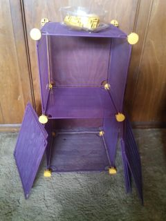 Purple and gold stackable metal storage shelves
