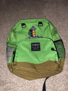 Minecraft backpack with built in water holder, folder holder and many compartments ((MOVING SALE))