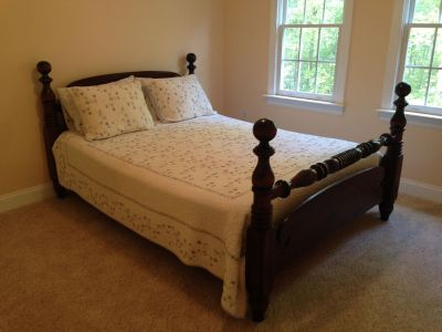 Four post queen size bed from Ethan Allen, mattress, and boxspring