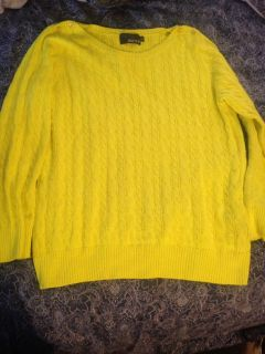 NWOT yellow cable sweater sz XXL