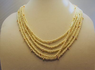"""Express Ivory Bead Plastic 22"""" Gold Tone Necklace Pendant Statement Chain Strand"""