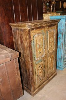 Indian Hand Carved Solid Wood Cabinet Chest Storage