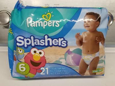 Pampers splashers size 6 swim diapers never open