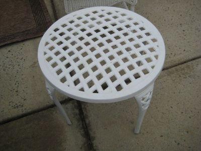 White Metal Round End Table