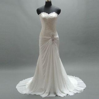 Tiffany's Sheath Appliqué Strapless Beach Wedding Gown