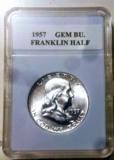 1957 GEM BU Franklin Half Dollar