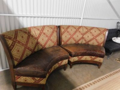 Walter E Smithe Upholstered Curved Loveseat Settee Armless