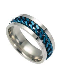 Blue Rotating Stainless Steel Ring 8mm SIZE 10