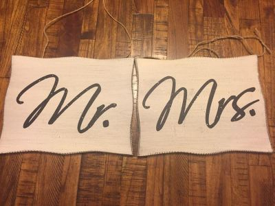 Mr. and Mrs. hanging signs