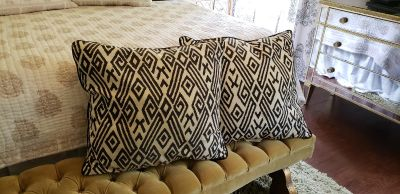 """Pair of Large Toss Pillows. 24"""" x 24"""". Black and Beige Modern Geo Design. Comes from Pet and Smoke free home. 100% Cotton."""