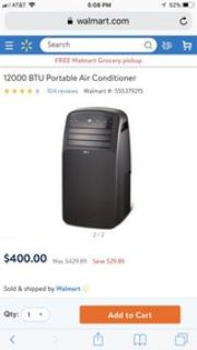 portable air conditioner; used once still in box practically brand new