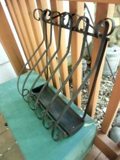 antique wrought iron newspaper holder (box) scrolling design