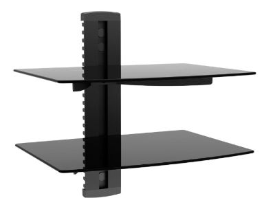 Black Tempered Glass 2 Shelf Wall Mount Bracket for TV Components