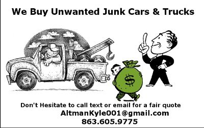 We buy unwanted cars and trucks and junk vehicles