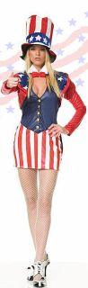 Sexy Uncle Sam Costume Dress, Jacket and Tall Hat