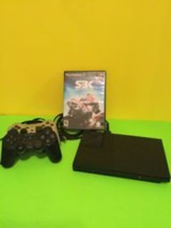 Play Station 2 Console with wires and 2 remotes and S3K Bike racing game