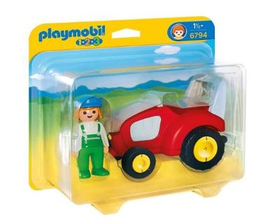 New! PLAYMOBIL 1.2.3 Tractor Vehicle w/Farmer Set #6794