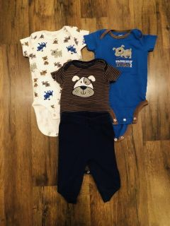 0-3 month onesies and matching pants