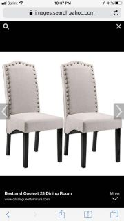 Set of 2 solid beige Merax dining chairs