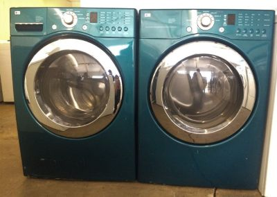 LG Front Load HE Washer and Electric Dryer Set in Teal