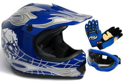 Find YOUTH BLUE/SILVER SKULL DIRT BIKE MOTOCROSS HELMET MX+GOGGLES+GLOVES~S,M,L motorcycle in La Verne, California, US, for US $34.99