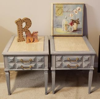 Custom painted end tables