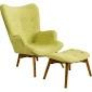 Canyon Vista Mid-Century Wingback Chair and Ottoman