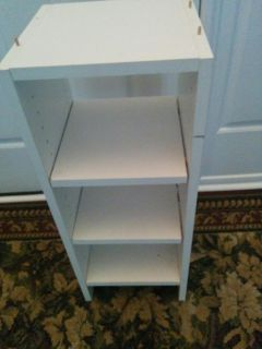 Storage organizer adjustable shelves. A little chipped but still functional
