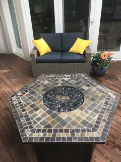 Wicker Couch and Firepit Purchased in 2017