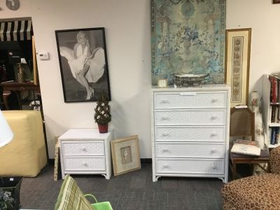 LEA Furniture-Faux Wicker Look-5 Drawer Chest & 2 Drawer Nightstand