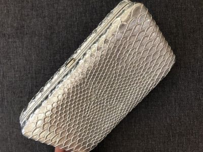 Metallic Silver Box Clutch