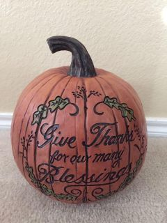 Give Thanks Blessings Pumpkin