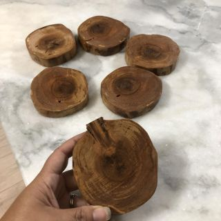 6 Solid wood coasters >> sold the together