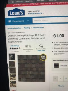 23 squares Owens Corning shingles - new from Lowes