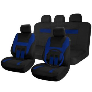 Purchase Car Seat Covers Black / Blue 17pc Full Set w/Steering Wheel/Belt Pad/Head Rest motorcycle in Van Nuys, California, United States, for US $26.18