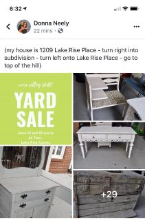 Lake Rise Community yard sale today 7-3 and Saturday