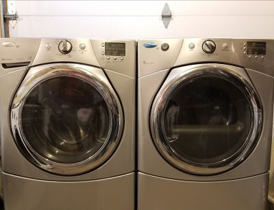 Silver whirlpool duet washer and dryer