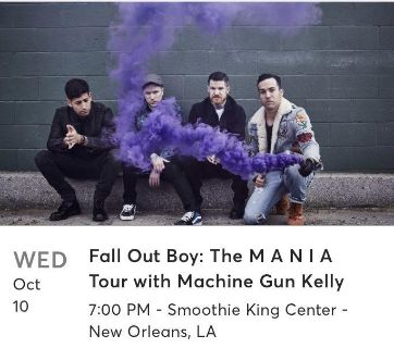Concert Tickets: Fall Out boy and MGK