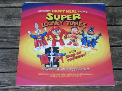 Super Looney Tunes Happy Meal Toy Display Sign - 1991