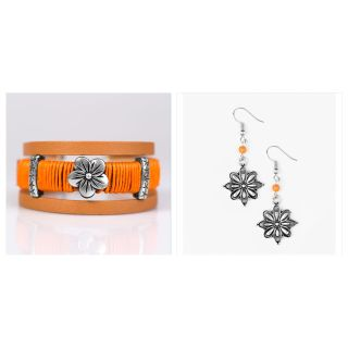 PAPARAZZI HAWAIIAN HAVE URBAN ORANGE WRAP & CACTUS BLOSSOM ORANGE EARRINGS NWT