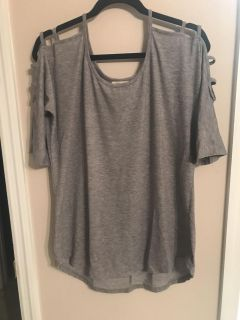Grey tunic tee with ladder sleeves women large
